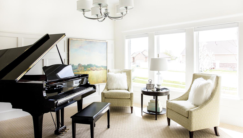 Lake House Piano Room Interior Design