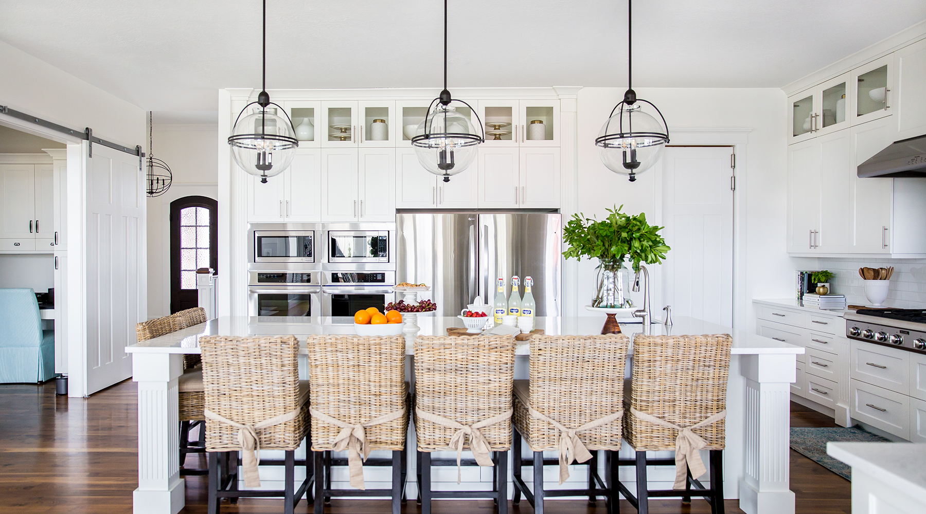 Lake House Kitchen Wicker Chairs