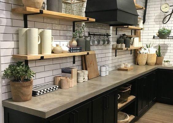 Modernized Rustic Open Kitchen Storage