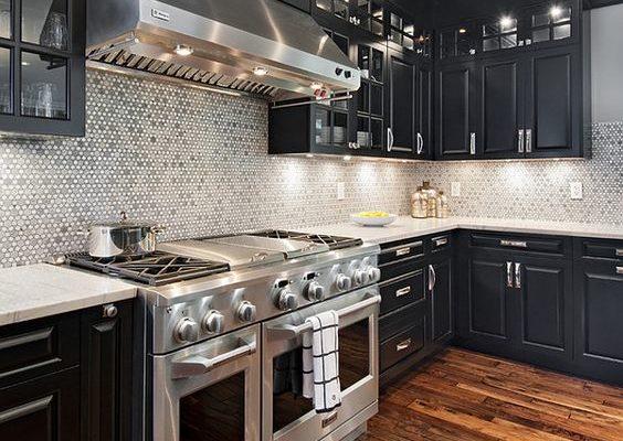 Dark Stain Kitchen Floors Cabinets