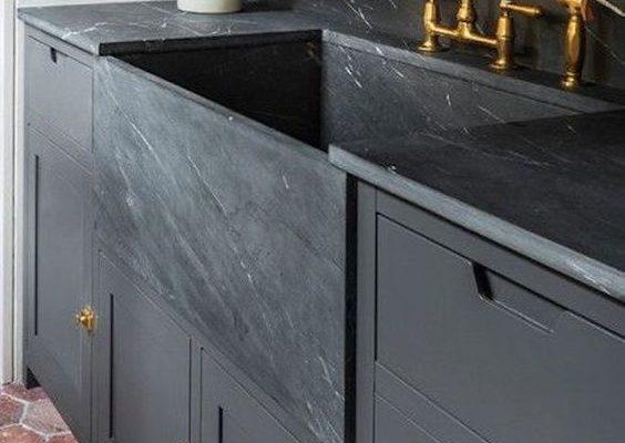 Deep Washroom Sink Black Marble