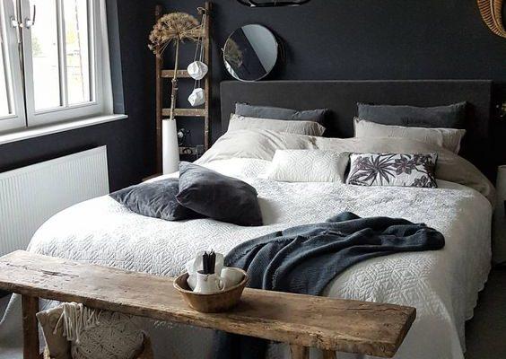 Dark Bedroom with Comforter Accent