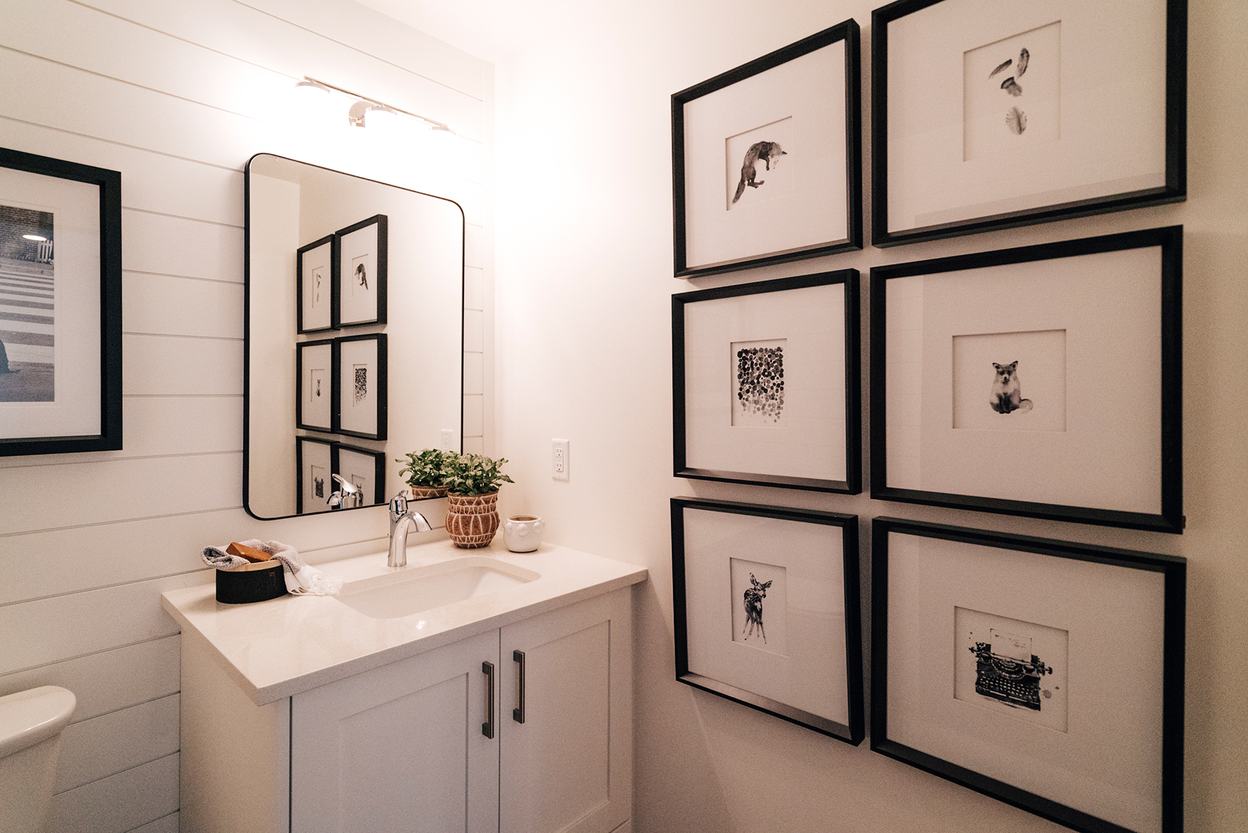 White and Black Bathroom Miya Interiors