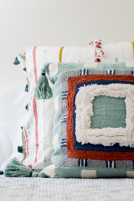 Colorful Throw Pillows for Layered Bedding - Miya Interiors