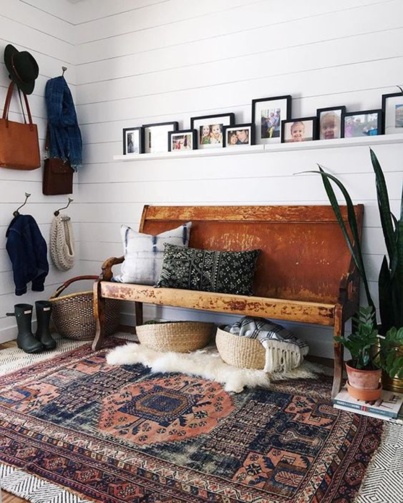 Mudroom Bench with Layered Rugs