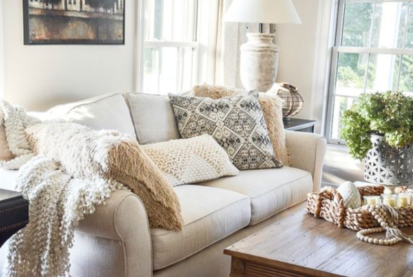 Textured Pillow Covered Sofa