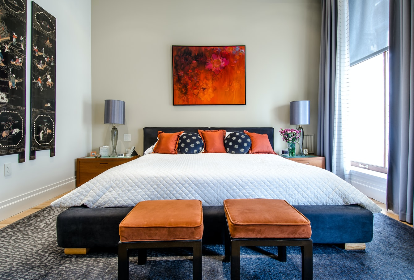 warm & cool bedroom colors, interior design
