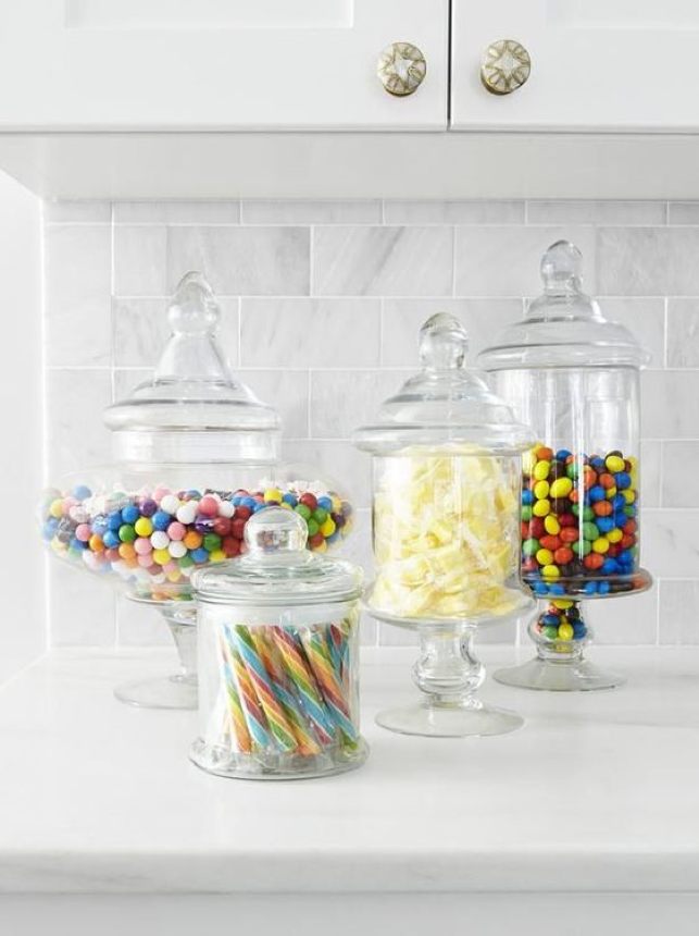 Bright Color Glass Candy Jars