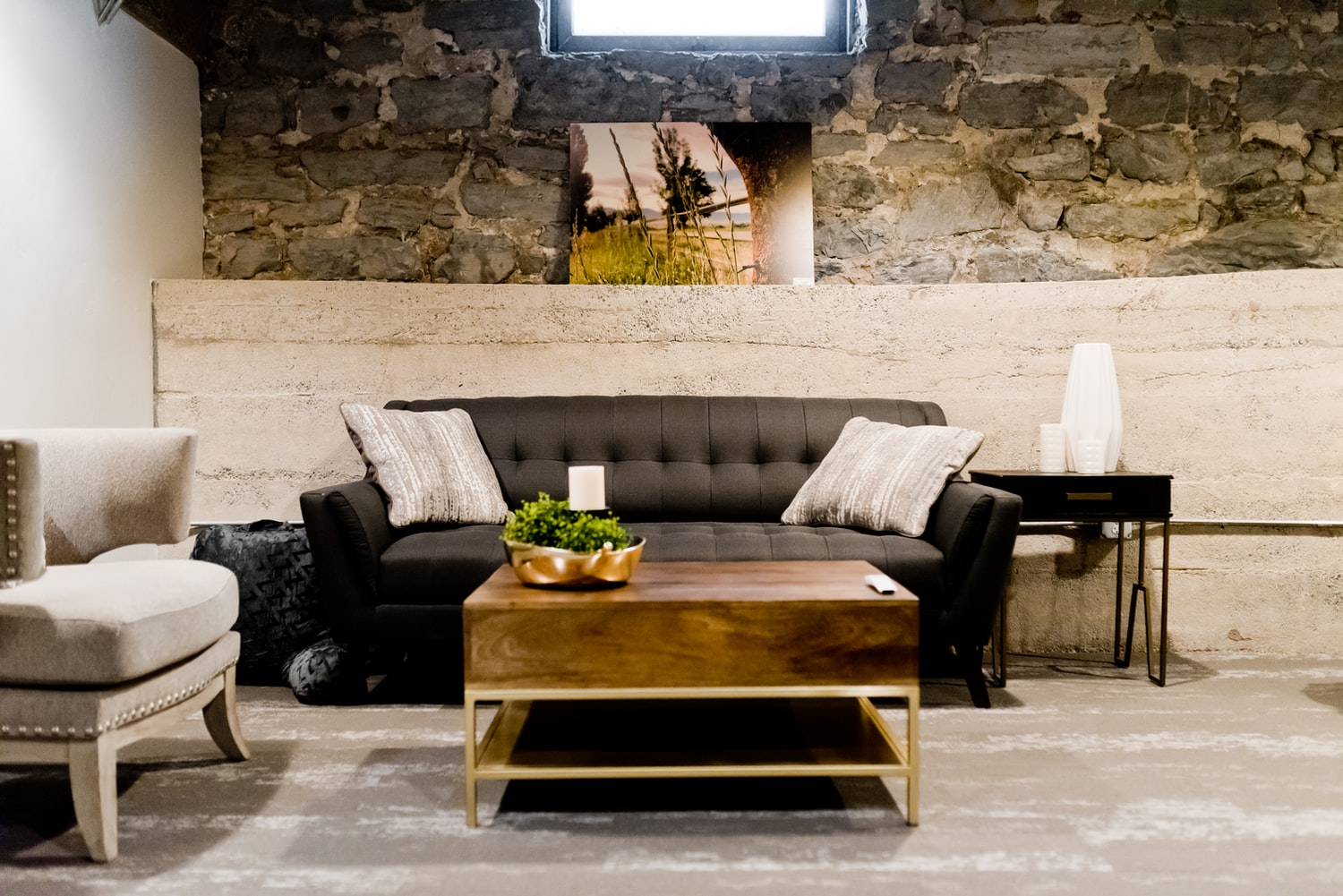 industrial living room with exposed brick