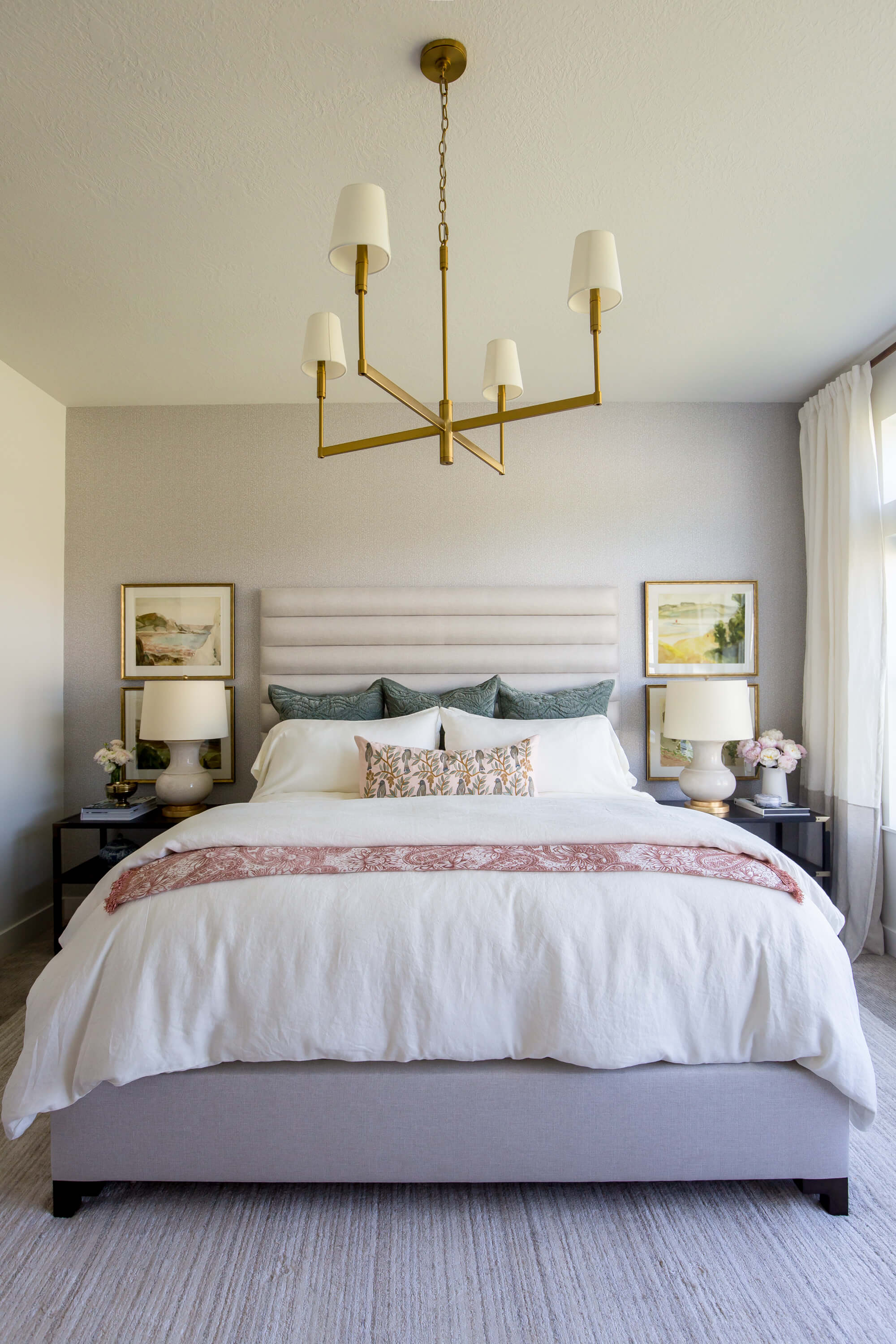 bedroom interior design with bedspread & luxury curtains