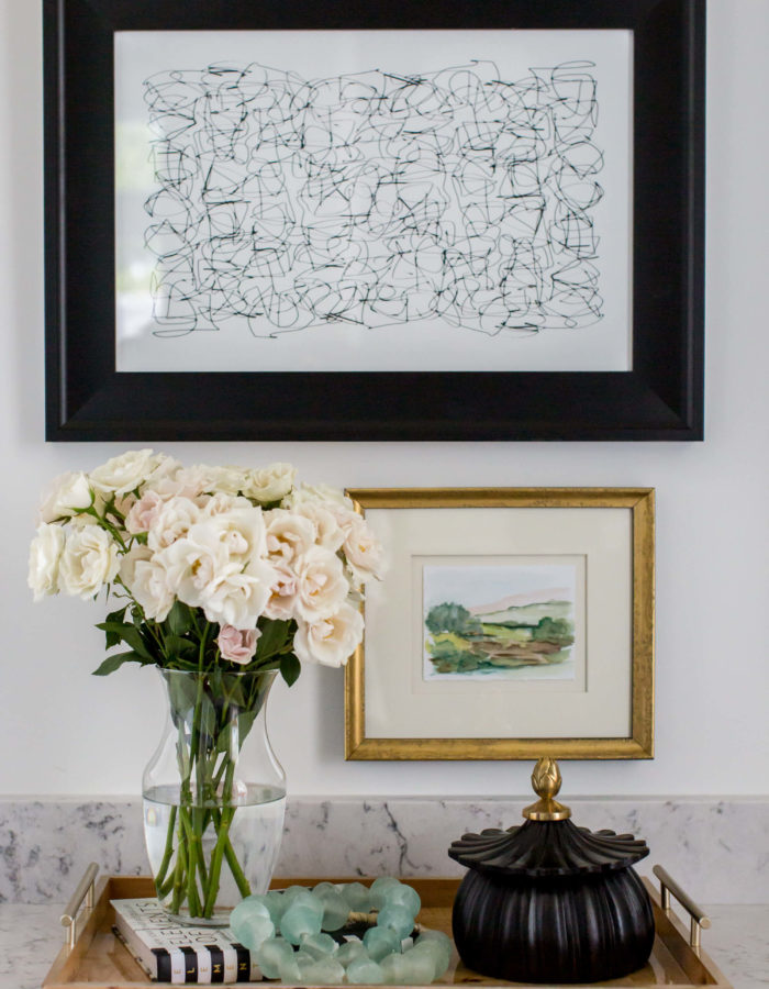 White Interior Design - Abstract Paintings & Modern Tray with Flowers