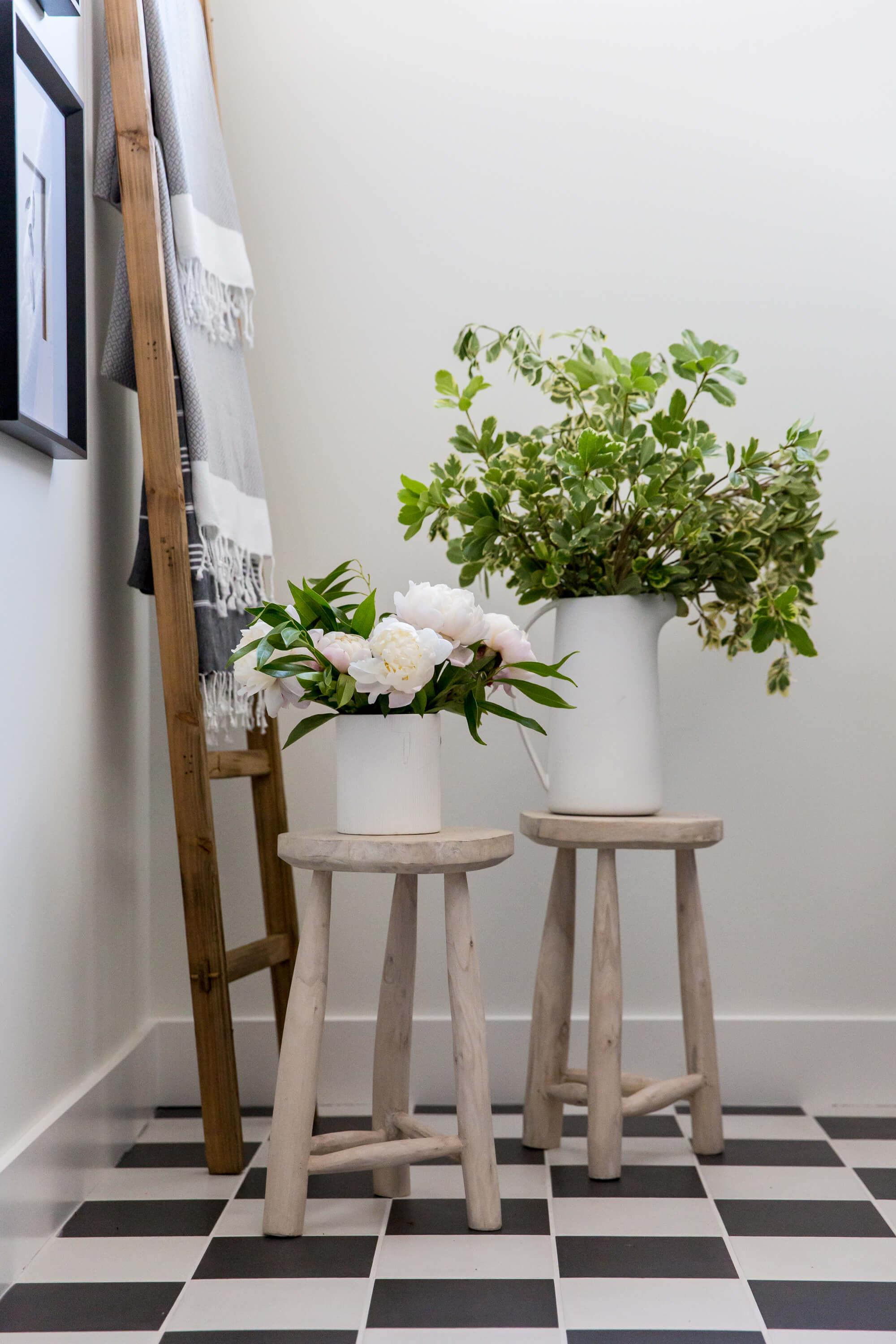 Greenery on Stools & White Interior Design