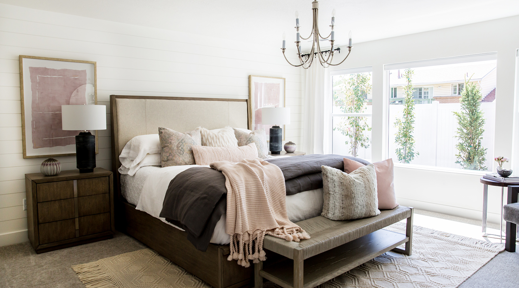 Bright Master Bedroom Interior Design & Layered Bedding by Miya Interiors